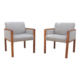 Vintage Danish Teak Upholstered Armchairs - A Pair