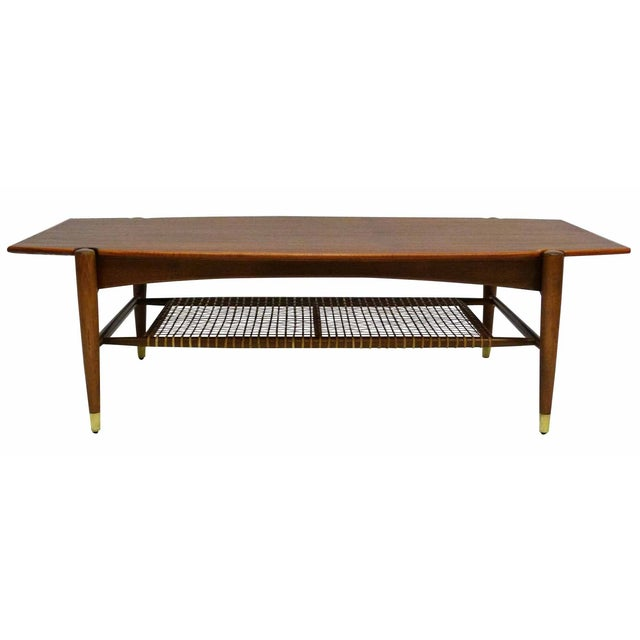 Dux Mid-Century Coffee Table with Cane Shelf - Image 1 of 10