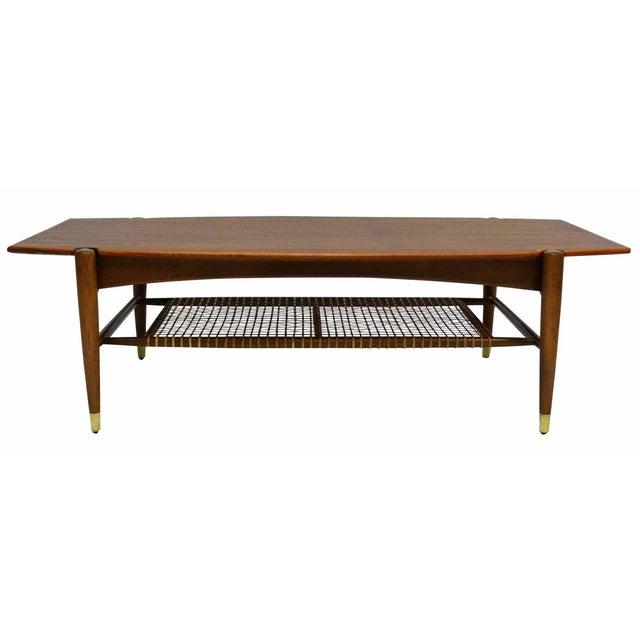 Dux Mid Century Coffee Table With Cane Shelf Chairish