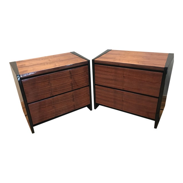 Image of Henredon Koa & Black Lacquer Nightstands - A Pair