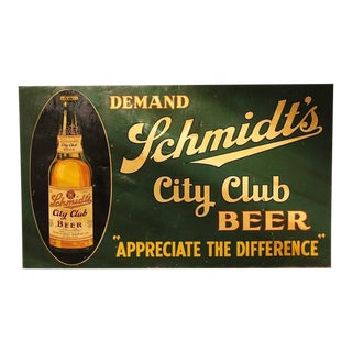"""Large 1930s American Tin Advertising Sign """"City Club Beer"""""""