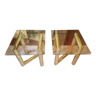 Karl Springer Brass Side Tables - A Pair