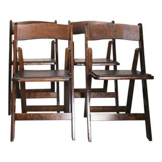 Vintage Dark Wood Folding Chairs - Set of 4