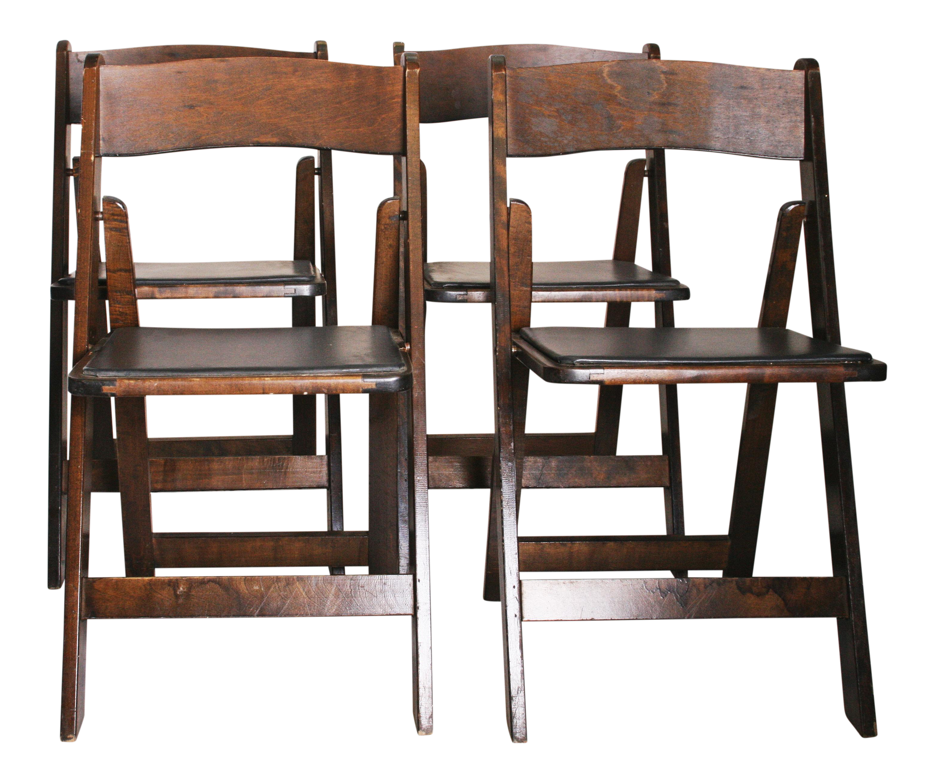 Perfect Vintage Dark Wood Folding Chairs   Set Of 4