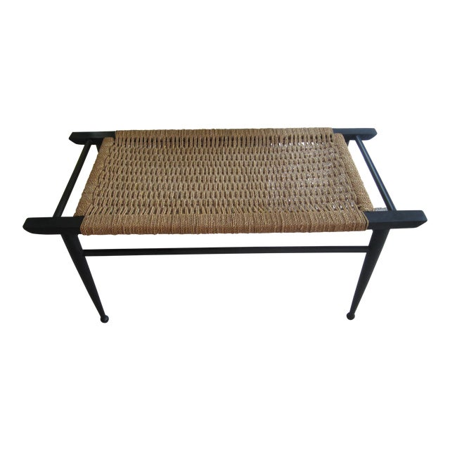 Vintage Mid-Century Modern Woven Rope Ebony Stained Wooden Bench - Image 1 of 7