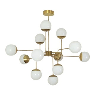 Classic Italian Modern Brass Chandelier With Glass Globes