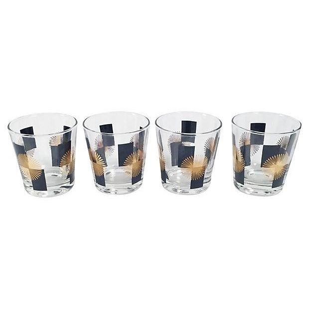 Image of Mid-Century Black & Gold Tumblers - Set of 4
