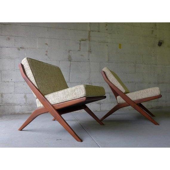 Mid Century Modern Scissor Lounge Chairs - Pair - Image 3 of 6