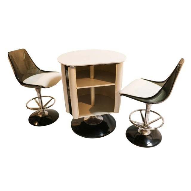 Image of Chromcraft Mid-Century Modern Bar & Stools - Set of 3