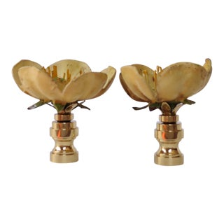 Vintage Tole Yellow Poppy Flower Finials- A Pair