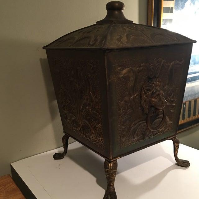 Antique Bronze Coal Bucket Fireplace Scuttle Lions Head Design - Image 4 of 4