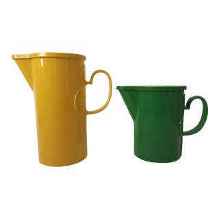 Vintage Mid Century Modern Dansk Yellow & Green Beverage Pitchers - Pair