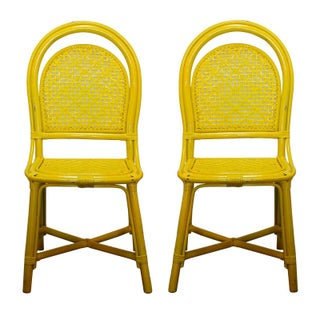 Vintage Yellow Rattan Cafe Chairs - A Pair
