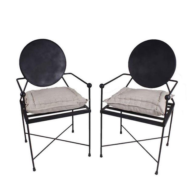 Image of Round Back Metal Chairs - A Pair