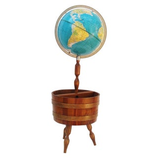 World Globe With Wooden Magazine Stand