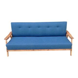 Mid-Century Modern Blue Sofa