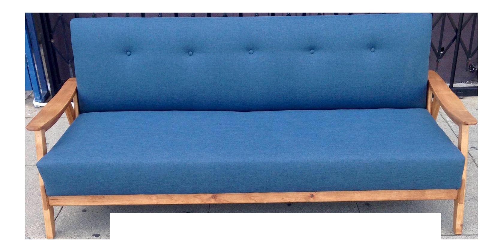 midcentury modern blue sofa