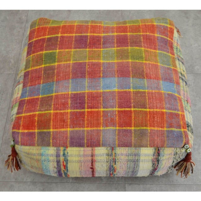 Hand Woven Kilim Floor Cushion Turkish Sitting Pillow- 22″ X 22″ - Image 4 of 8