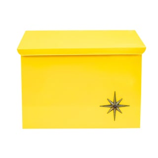 Mid-Century Modern Yellow Metal Atomic Starburst Wall Mount Mailbox