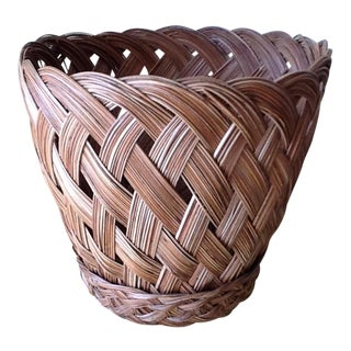 Vintage Wood Braided Basket