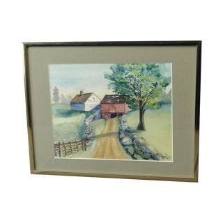 Farm Landscape Watercolor by Peggy Nixon