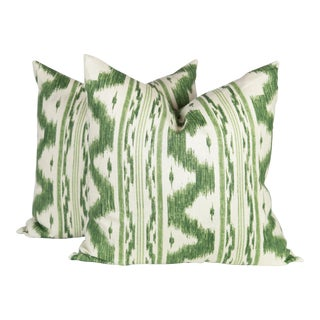 Ivory and Green Linen Ikat Pillows - a Pair