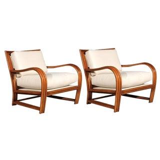 Restored Pair of Vintage Ficks Reed Club Chairs