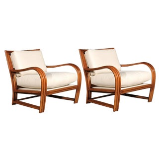 Restored Pair of Vintage Ficks Reed Club Chairs