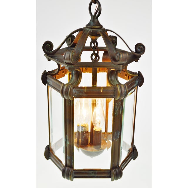 Bronze & Beveled Glass 3 Light Lantern Light Fixture - Image 3 of 11