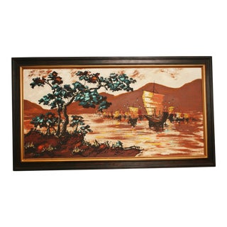 Mid Century Modern Asian Seascape Oil Painting