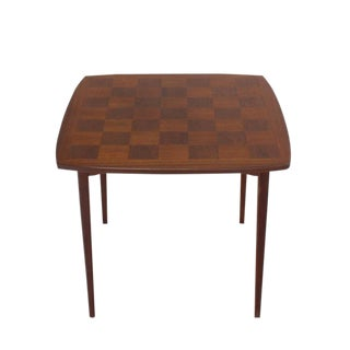 Danish Mid-Century Modern Parquetry Top Game Table