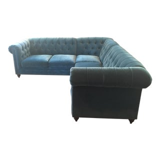 Anthropologie Velvet Lyre Sectional Sofa