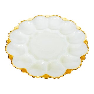 Vintage Pressed Milk Glass Oyster Plate
