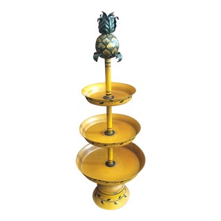 Vintage Tole Pineapple Tiered Stand