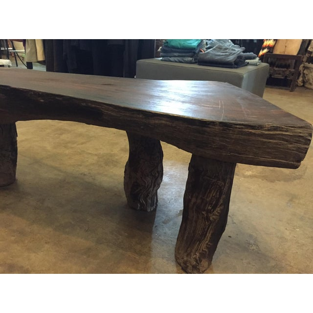 Organic Natural Iron Wood Curved Rustic Bench - Image 6 of 11