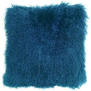 Mongolian Sheepskin Teal Throw Pillow