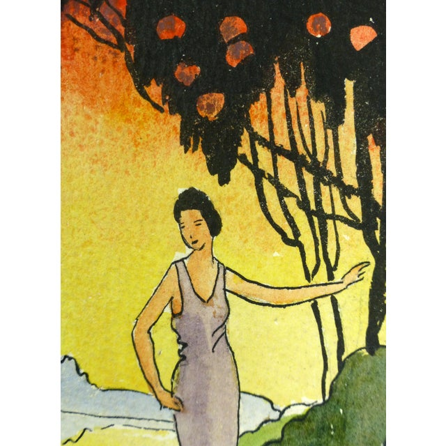 "Vintage 1920 ""Sunset Saunter"" Watercolor Painting - Image 2 of 3"