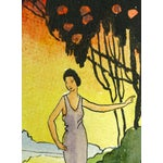 """Image of Vintage 1920 """"Sunset Saunter"""" Watercolor Painting"""