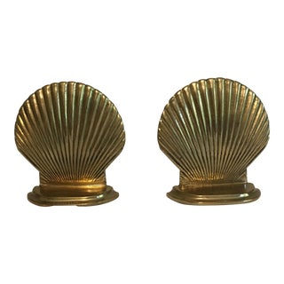 Vintage Brass Seashell Bookends - Pair