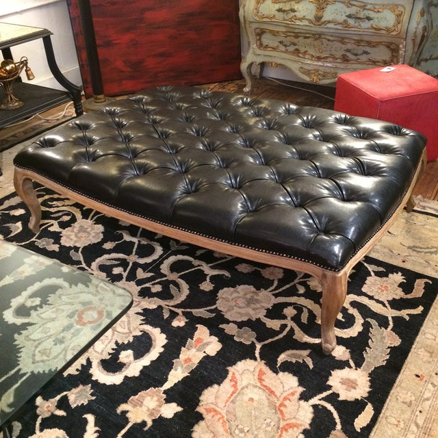 Button Tufted Black Faux Leather Ottoman - Image 2 of 5
