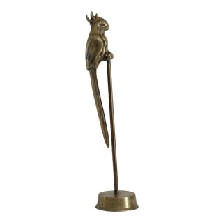 Brass Parrot on Stand
