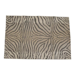French Zebra Patterned Rug in Natural Fiber