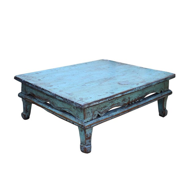 Distressed Blue Coffee Table: Chinese Distressed Rustic Light Blue Low Kang Table