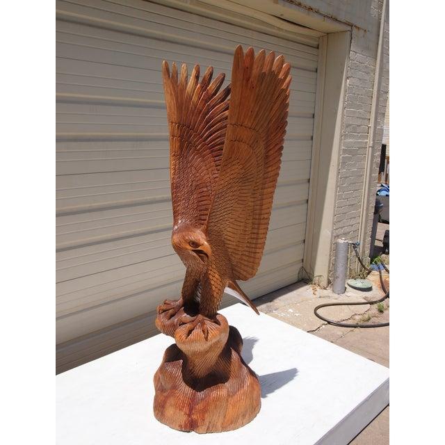 Wood Carved Eagle Sculpture - Image 2 of 6