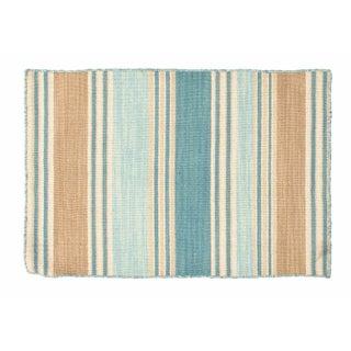 Blue, White & Tan Striped Dhurrie - 2' x 3'