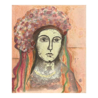 Flowered Hair Madonna Mixed-Media Painting