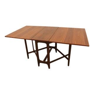 Mid-Century Danish Modern Walnut Drop Leaf Dining Table