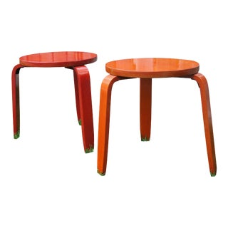 Mid-Century Red Stacking Stools - A Pair