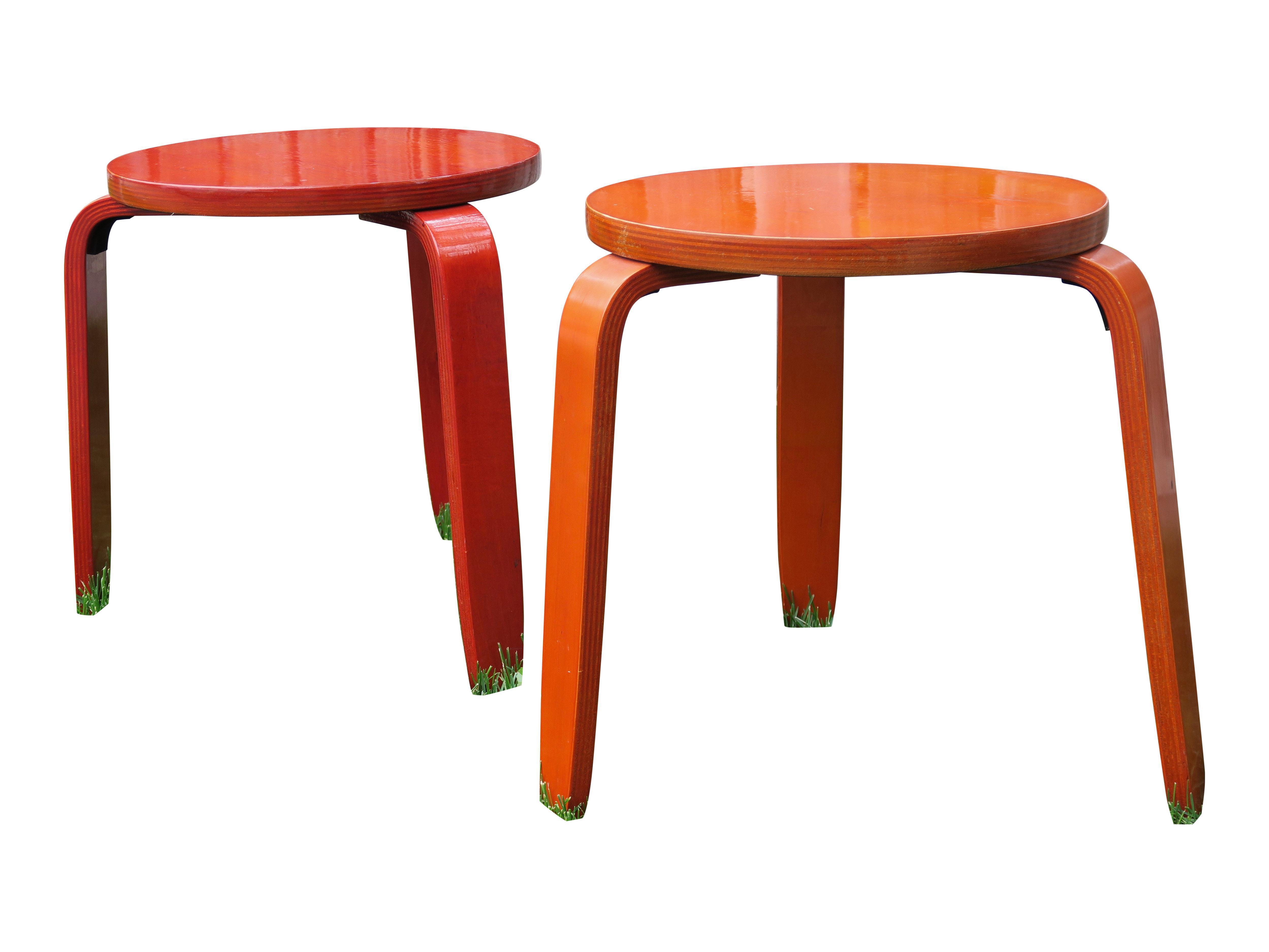 Mid-Century Red Stacking Stools - A Pair  sc 1 st  Chairish & Vintage u0026 Used Mid-Century Modern Low Stools | Chairish islam-shia.org