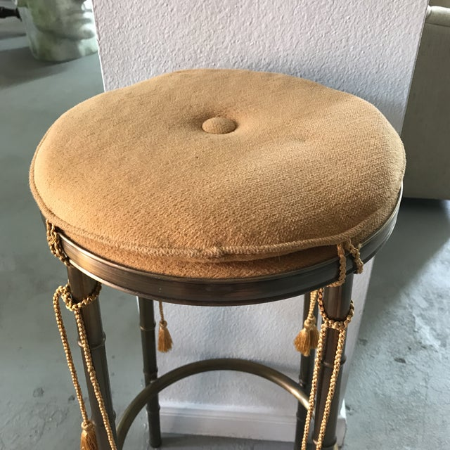 Regency Faux Bamboo Brass Barstool With Tassels - Image 3 of 5